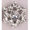 Rhinestone Button Star Silver/crystal 37mm
